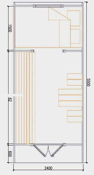 2.4m x 5.5m Floor Plan